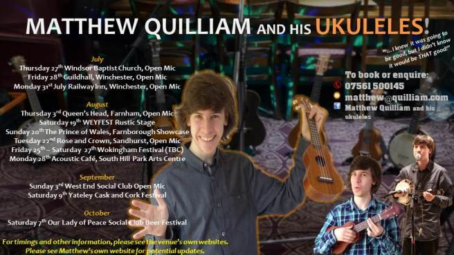 Matthew Quilliam and his Ukuleles 2017 Dates Leaflet